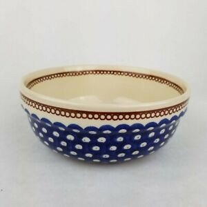 Boleslawiec Polish Pottery Serving Bowl Blue Dots Brown Handmade In Poland 7.75""