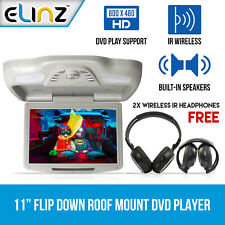 "11"" DVD Player In Car Roof Mount Flip down Monitor 32 Bits Games USB SD AUS"