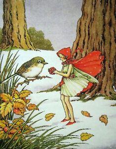 Postcard: Vintage repro - Snow Fairy - Red Hood, Bird, Sparrow - Snowy Forest