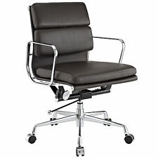 Softpadded Mid Back Management Office Chair Leather Brown eames