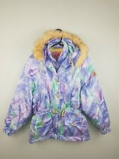 f9bc2101c9 VTG RETRO WOMENS CRAZY BRIGHT BOLD ATHLETIC SPORTS WINTER SKI COAT JACKET  8-10