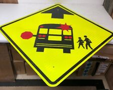 "Authentic Retired Texas  ""Caution School Bus Ahead"" Highway Sign"