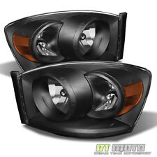 Black 2007-2008 Dodge Ram 1500 07-09 2500 3500 Headlights Left+Right Replacement