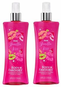 X 2 Body Fantasies Pink Vanilla Kiss Fantasy Fragrance Body Mist Spray 8 Oz NEW