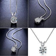 HIGH Diamant Rund Anhänger Halskette Silber Plated Damen Collier Damen Kette