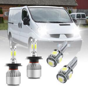 For RENAULT TRAFFIC 2001-ON Headlight LED Kit set 2x H4 Bulbs PURE WHITE+501