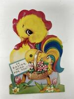 Vintage A-Meri Card Easter Mechanical Chick Rainbow Colors Stand Up Envelope