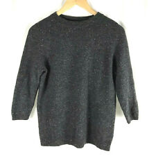 Talbots Petites Womens Pure Cashmere 3/4 Sleeve Sweater Gray PM Petite Medium