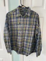 Eddie Bauer Mens Sz XL Green Blue Plaid Long Sleeve Button Up Flannel Shirt