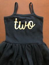 Birthday Dress Two 2nd Birthday Baby Girl Toddler Romper Tutu 2T-3T Black Gold