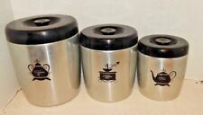 Vintage West Bend Aluminum Kitchen Canisters Sugar ~ Coffee ~ Tea