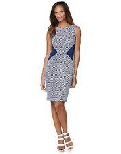 NEW Liz Lange NAVY BLUE  and White Diamond Shaped Colorblock Shift Dress XS