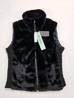 New Cavalini Petite Collection Black Faux Fur Sleeveless Vest Petite Large PL