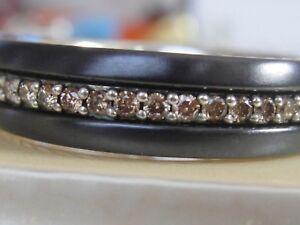 $2350 DAVID YURMAN MENS BLACK TITANIUM SILVER COGNAC DIAMOND RING