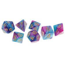 7pcs Polyhedral Dice D20 D12 D10 D8 D6 D4 for  Purple Blue