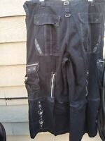TRIPP NYC Black Grunge Pants With rings, Gothic, Punk Look Size 2X (42 X 29)