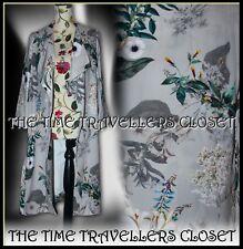River Island Grey Floral Waterfall Duster Coat Jacket Knee Longline UK 8 10 S