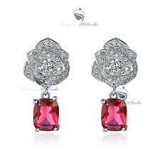 18k white gold gf made with SWAROVSKI crystal dangle rose red stud earrings