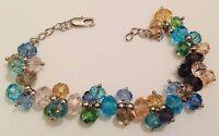 bracelet bijou rétro couleur argent grappe de perles de cristal couleur 387
