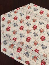 New listing Handcrafted - Quilted Table Runner - Owls - Red, Gray, Slate Blue - Dots & Owls