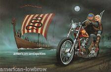 Dave David Mann Biker Art Motorcycle Poster Print Easyriders Viking Ship