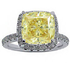 2.89CT WOMEN'S CUSHION CUT CANARY YELLOW DIAMOND HALO ENGAGEMENT RING 18K WG