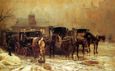 LONDON CAB STAND HORSE DRAWN CARRIAGE BY JOHN CHARLES DOLLMAN PAPER REPRO 10x16