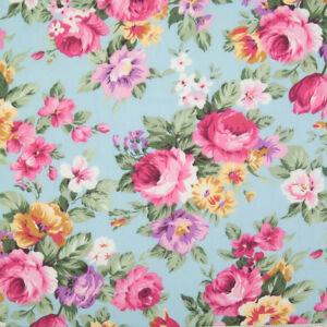 100% Cotton Poplin Rose & Hubble Fabric PINK VINTAGE ROSE BLUE Floral Material