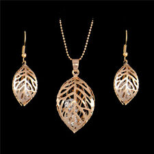 18K Gold Plated Rhinestone Hollow Leaf Pendant Necklace Earring Jewelry Set