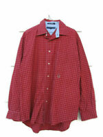 Tommy Hilfiger Men's Long Sleeve Shirt Red Plaid and Checks 100% Cotton Large
