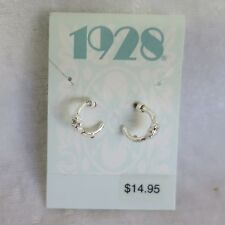 1 pair of 1928 earrings- Rhodium Plated  tiny hoops with diamantes