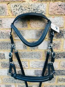 BITLESS MULTI-BRIDLE PADDED LEATHER SIDE PULL & CROSSOVER BLACK BROWN FULL COB