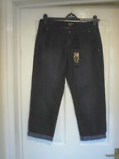 BNWT 24/7 COTTON DENIM CROP TROUSERS WITH SMALL TURN UPS SZ 10 WAS £20