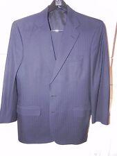 Tom James Custom Bespoke Suit Navy Blue Blue Wool  Herringbone 40 R