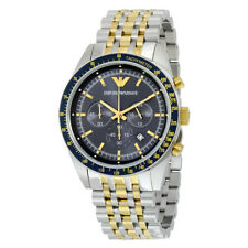 EMPORIO ARMANI AR6088 TAZIO BLUE DIAL TWO TONE GOLD & STEEL CHRONO MEN'S WATCH