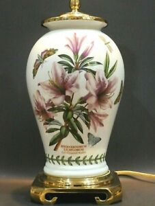 Portmeirion Botanic Garden Lily Flowered Azalea Porcelain & Brass Table Lamp