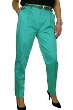 Ice Chino Pleated Tapered Cigarette Leg Trousers Belt 8-22 Hot Green 14
