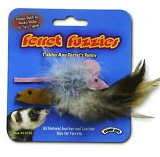 Lot of 2 Fuzzie Feather & Leather Ferret Toy