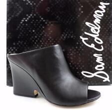 e44639037b8d Women s Shoes Sam Edelman WAYNE Open Toe Wedge Mules Leather Black Size 7.5