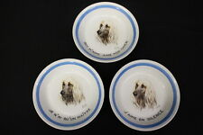 "Set of 3 Vintage Hand Painted AFGHAN HOUND 8"" Porcelain Bowls w/French, Limoges"