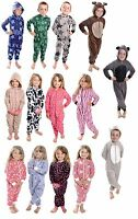 KIDS ONESIE ALL IN ONE SOFT FLEECE PRINTED PYJAMAS GIRLS BOYS 4-12 YEARS BNWT