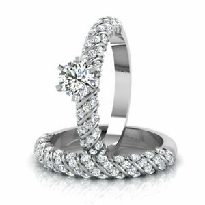 Solid 14K White Gold Round Cut 1.20 Ct Solitaire Engagement Ring with Band