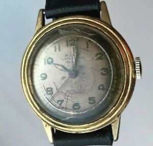 WWII Era Pierce Parashock Manual Wind Watch Runs But Needs Love Leather Strap