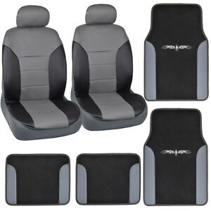 carXS 8PC Dark Gray PU Leather Seat Covers+Floor Mats Combo Set for Car SUV Van