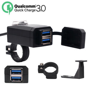 9-24V Motorcycle QC3.0 Dual USB Charger Fast Charging + Socket Connector&Bracket