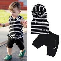2pcs Toddler Kids Baby Boy Clothes Striped T Shirt Tops+Short Pants Outfits Set
