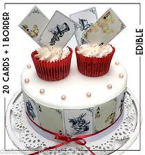 Gold Wafer Alice in Wonderland Edible Playing cards & Border Cake Cupcake topper