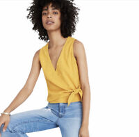 NWT Madewell Wrap Front Tie Tank Top Shirt Cotton Texture Mustard Yellow XL