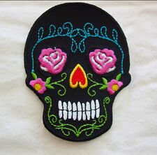 SUGAR SKULL LADIES EMBROIDERED IRON ON a14 BIKER PATCH