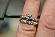 VINTAGE 14 KT YELLOW GOLD .40 CTS G-H/VS-SI DIAMOND (2) RING WEDDING SET SZ 5.75